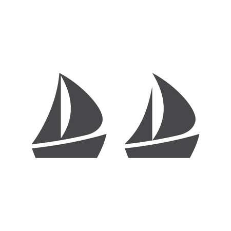 Boat or yacht simple black vector icon. Boat pictogram glyph symbol. Illustration
