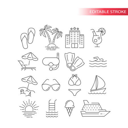 Summer travel, vacation or holiday vector icon set. Beach, hotel, palm tree, swimsuit summer tourism icons, outline, editable stroke.