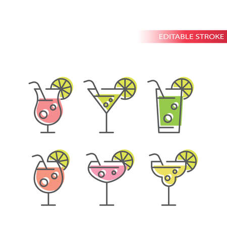 Cocktail glasses colorful vector icons set. Martini, mojito, margarita cocktails with straw and lemon slice, outline editable stroke icon set.