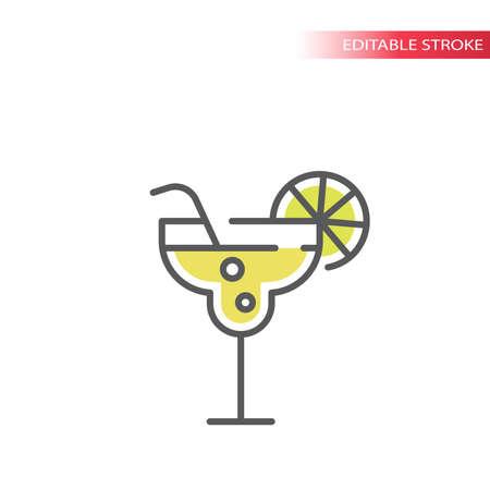 Cocktail glass, margarita colorful vector icon. Outline, editable stroke. Illustration