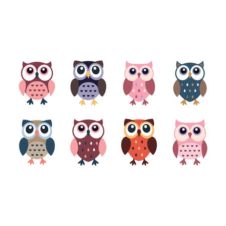 Cute owl colorful cartoon icons. Little owls or owlet character vector set. Illustration