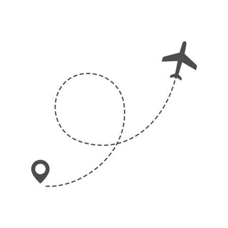 Airplane route trace in dashed line with location pin. Twisted flight path vector illustration. Illustration