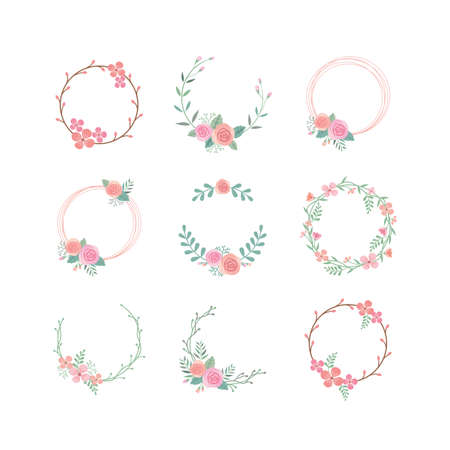 Floral circle colorful vector frame set. Spring blossom, rose flower vintage decoration frame template with branches and leaves.
