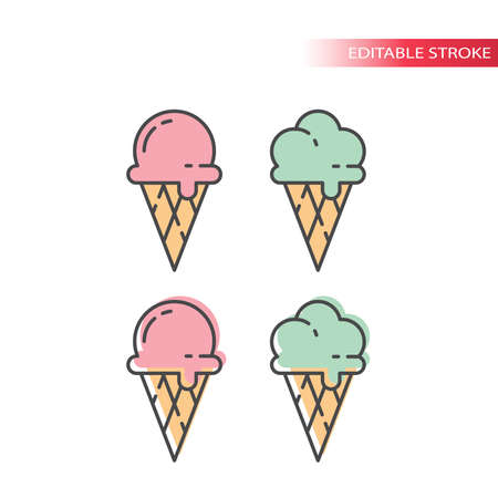 Ice cream with waffle cone colorful icon set. Ice cream pink and mint, colorful fill, editable line icons. Illustration