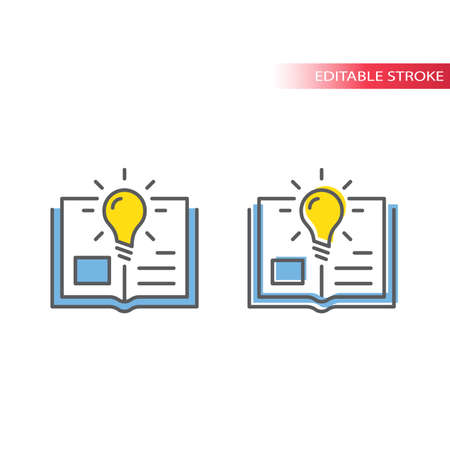 Light bulb and open book or textbook vector icon. Lightbulb, knowledge, education concept outline colorful icon, editable stroke. Illustration