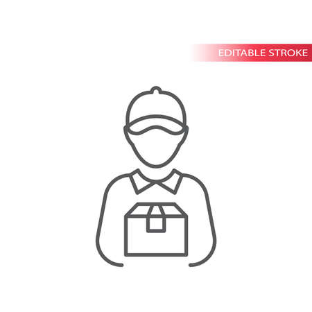 Delivery boy or man thin line vector icon. Courier with box outline icon, editable stroke.