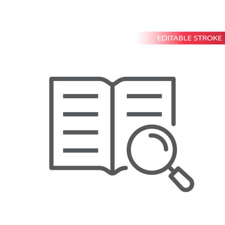 Open book and magnifying glass or magnifier vector icon. Manual, instruction outline icon, editable stroke. Illustration