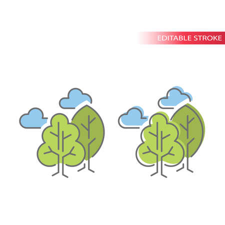 Green trees with clouds line vector icon. Tree, cloud, outdoor concept or nature environment colorful fill with outline icon. Editable stroke.