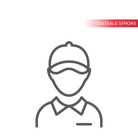 Employee with collar and hat thin line vector icon. Delivery boy or worker with visor cap outline symbol, editable stroke.