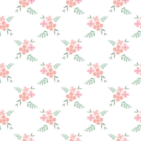 Floral, flower seamless pattern design. Vintage pattern with pink flowers, retro style Illustration