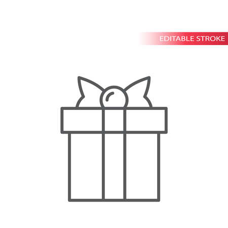 Gift box with ribbon or bow thin line vector. Outline icon, editable stroke.