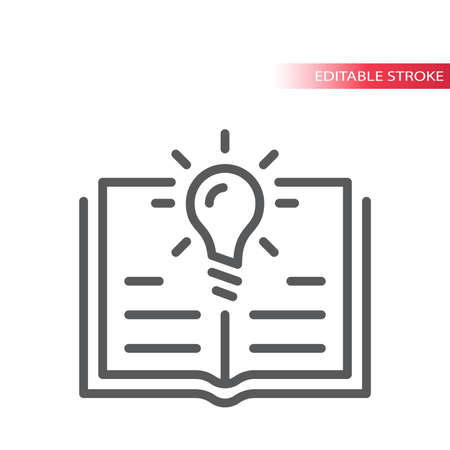 Light bulb and open book or textbook vector icon. Lightbulb, knowledge, education concept outline icon, editable stroke.