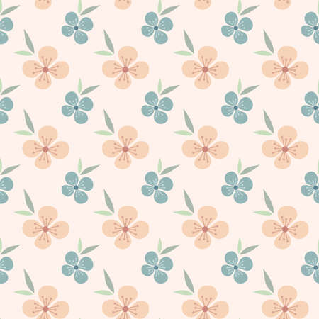 Floral seamless pattern design. Pink and blue flowers vintage pattern for wallpapers, print and fabric.