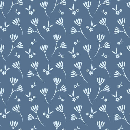 Floral seamless pattern design. White flowers on blue background vintage pattern for wallpapers, print and fabric.