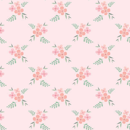 Floral seamless pattern design. Pink flowers vintage pattern for wallpapers, print and fabric.