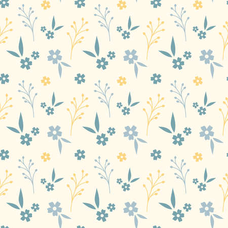 Floral seamless pattern design. Yellow and blue flowers vintage pattern for wallpapers, print and fabric.