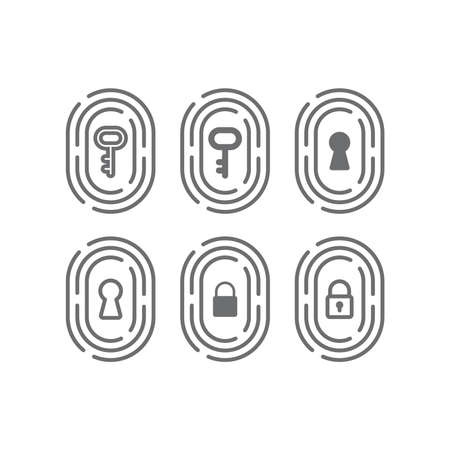 Fingerprint with key, keyhole and padlock icon. Safe and secure identification concept, biometric identity vector sign.
