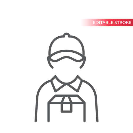 Delivery boy or man thin line vector icon. Courier with box and visor hat or cap outline icon, editable stroke. Ilustrace
