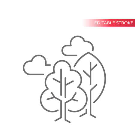 Trees with clouds line vector icon. Tree, cloud, outdoor concept or nature environment outline icon. Editable stroke.