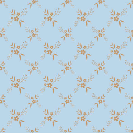 Floral seamless pattern design. Brown flowers on blue background, diamond shape vintage pattern for wallpapers, print and fabric.