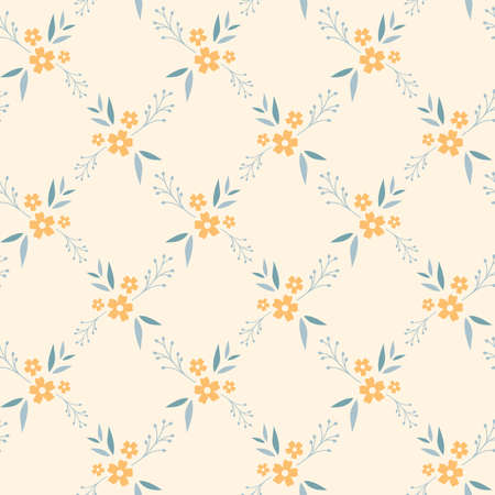 Floral seamless pattern design. Yellow and blue flowers, diamond shape vintage pattern for wallpapers, print and fabric.
