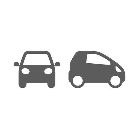 Car, front and profile, small design vector icon. Automobile simple black pictogram symbol.
