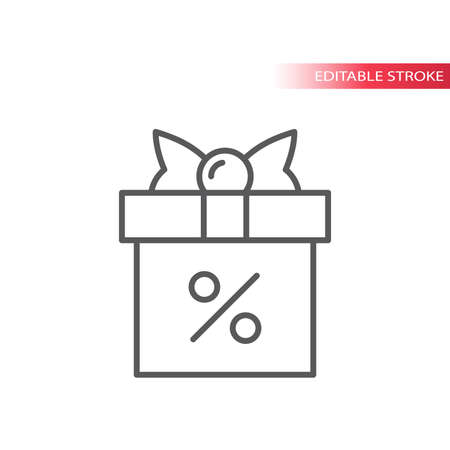 Gift box with ribbon and percent sign line icon. Discount shopping parcel symbol, outline, editable stroke.