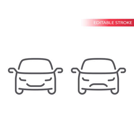 Car thin line vector icon. Happy and sad, smiley car outline symbol, editable stroke. Ilustrace