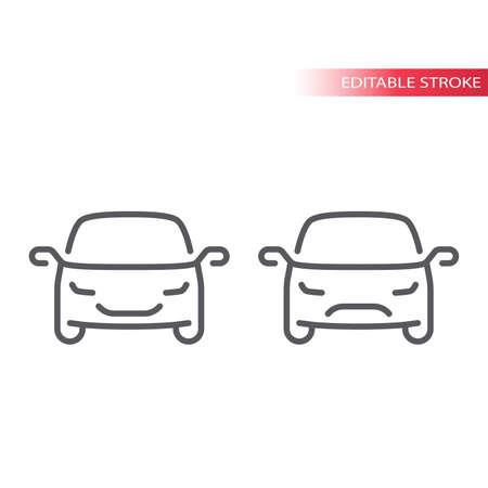 Car thin line vector icon. Happy and sad, smiley car outline symbol, editable stroke. Illustration