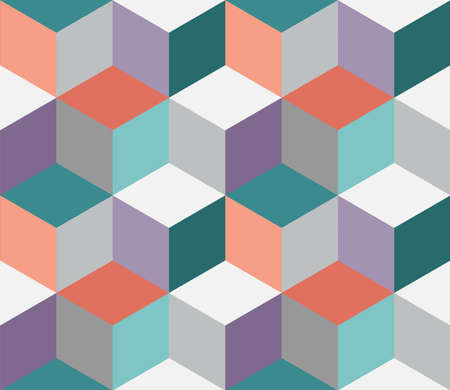 Geometric colorful seamless pattern design. Cube, squares or hexagon pattern for print, fabric or background.