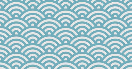 Geometric colorful seamless pattern design. Semicircles or half circle in blue and grey pattern for print, fabric or background.