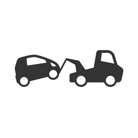 Towing wrecker truck and car simple  vector icon. Car accident, wreck or tow help service black glyph symbol.