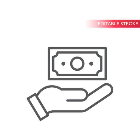 Hand and money, banknote thin line vector icon. Cash payment outline symbol, editable stroke. Ilustrace