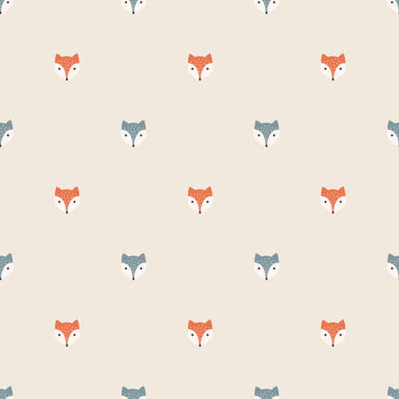 Fox cartoon, red and polar seamless pattern, colorful. Foxes, red and polar, children illustration pattern for fabric, print.