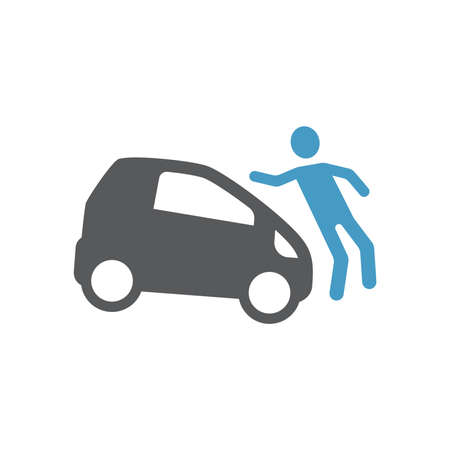 Car hit pedestrian black vector icon. Road accident glyph symbol.