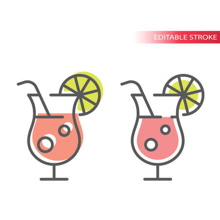 Summer cocktail glass with lemon line icon. Outline, editable stroke vector cocktails with pink fil.