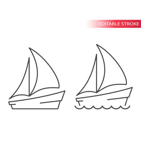 Boat or yacht thin line vector icon. Sail boat with sea waves simple outline symbol, editable stroke. Ilustrace