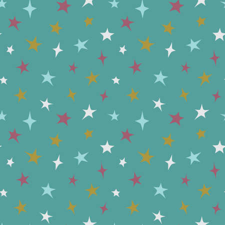Stars colorful seamless pattern design. Red, golden blue stars on turquoise background print for fabric or paper.