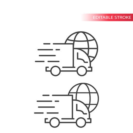 Truck or lorry with speed marks and a globe. International shipping, fast delivery service line vector icon. Outline, editable stroke.