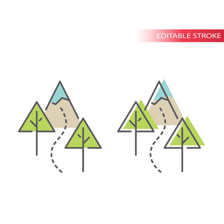 Hiking trail with trees and mountain vector icon. Outdoor hiking in nature outline symbol, editable stroke and colorful fill.