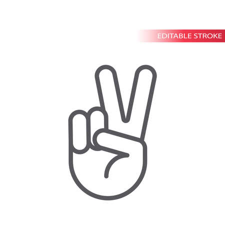 Peace hand gesture thin line vector icon. V or victory sign, outline, editable stroke. 向量圖像