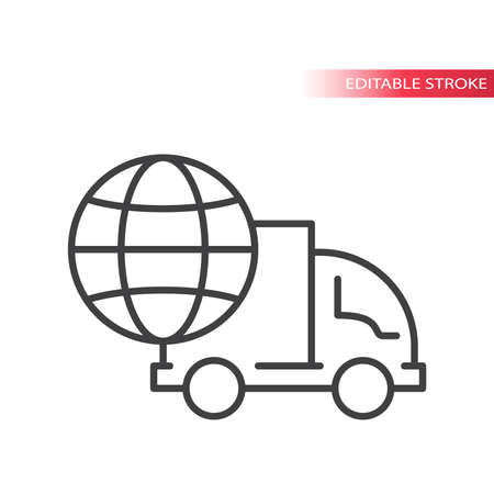 Truck or lorry with globe thin line vector icon. International shipping, delivery service symbol. Outline, editable stroke. 向量圖像