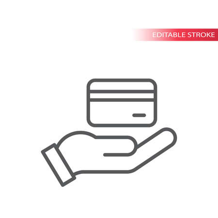 Hand and credit or debit card vector icon. Credit card payment outline icon, editable line. 向量圖像