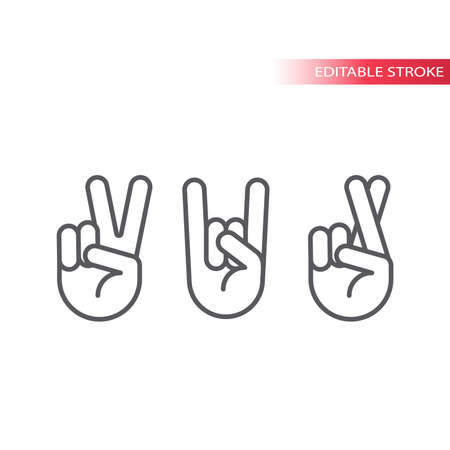 Rock, peace and fingers crossed vector icon set. Hand gestures outline symbols, editable line. Archivio Fotografico - 152276827