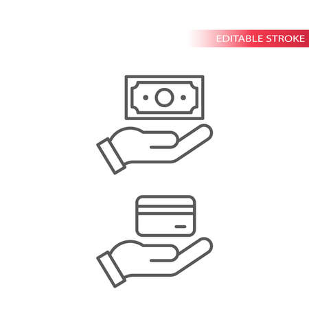 Hand and money, credit card and banknote. Cash and credit card payment outline vector icon, editable line.