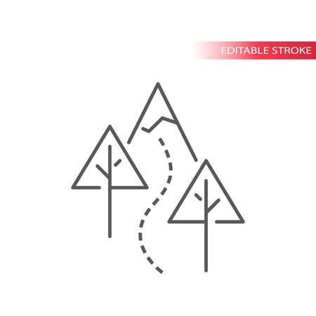 Hiking trail with trees and mountain vector icon. Outdoor hiking in nature outline symbol, editable stroke. Archivio Fotografico - 152276830