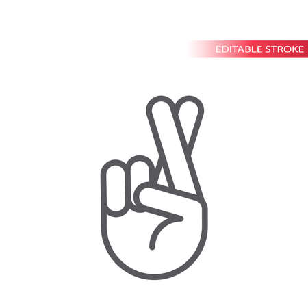 Fingers crossed hand gesture line vector icon. Crossed fingers sign, outline, editable stroke. Archivio Fotografico - 152276832