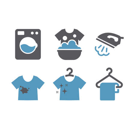 Laundry service black glyph icon set. Iron with steam, dry cleaning, washing machine symbols. Archivio Fotografico - 152265193
