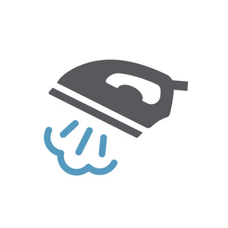 Iron with steam black vector icon. Ironing service simple glyph symbol. 向量圖像