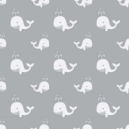 Whales drawing kids seamless pattern. Whale, hand drawn cartoon pattern for baby and children print, fabric.